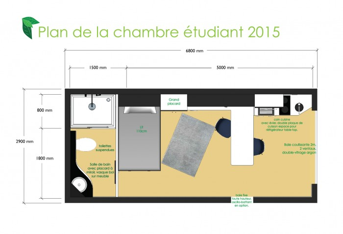 Plan au sol chambre tudiant studio de jardin my - Studio de jardin prix ...